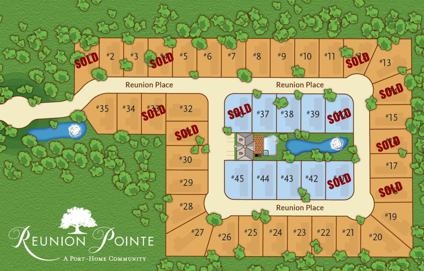 Lot plan for Reunion Pointe RV Port-Home Community
